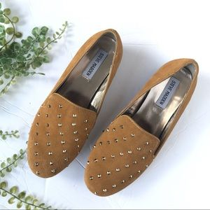 Steve Madden stud loafers golden yellow suede